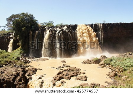 Water flows of Blue Nile falls