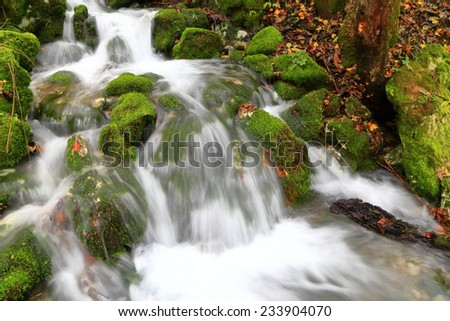 Water flows over moss covered rocks in autumn - stock photo