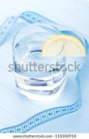 Water for healthy life with lemon - stock photo