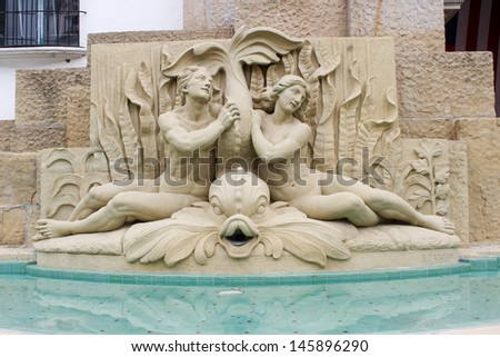 Water Fountain at the Santa Barbara Courthouse - stock photo