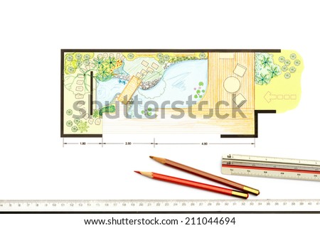 Water garden design Plan for backyard - stock photo