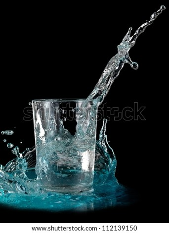 Water glass splash