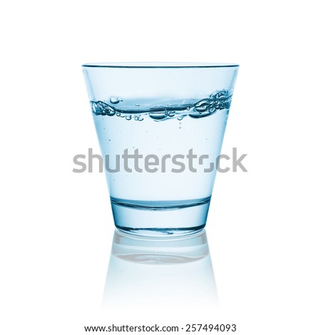 water glass with bubbels isolated on white background