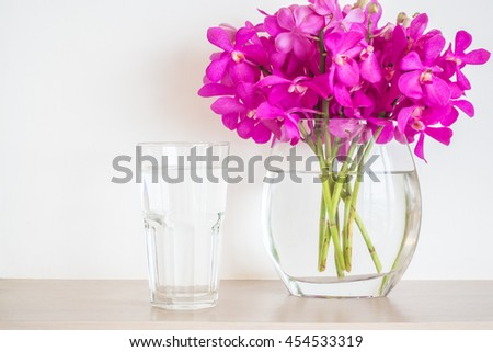 Water Glass Orchid Flower Vase Stock Photo Royalty Free 454533319