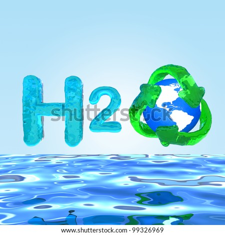 Water H2O. Formula on water Eco Concept. Globe with green recycle