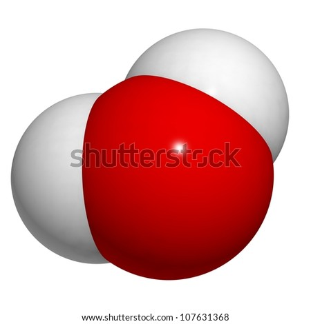 Water (H2O) molecule, chemical structure. - stock photo