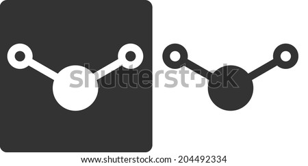 Water (H2O) molecule, flat icon style. Atoms shown as circles. - stock photo