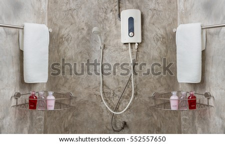 water heater and shower in bathroom