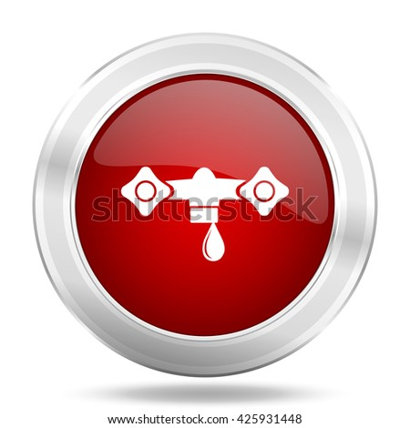 water icon, red round metallic glossy button, web and mobile app design illustration - stock photo