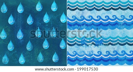 Water - illustrated wallpaper. Texture drops and waves - stock photo