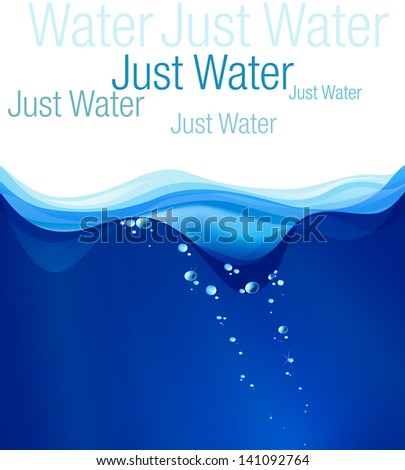Water illustration, place for text. Clip art, card, wallpaper, label.