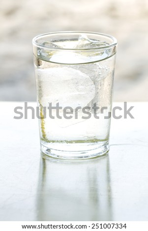 Water in a glass with ice to drink fresh, clean and healthy - stock photo