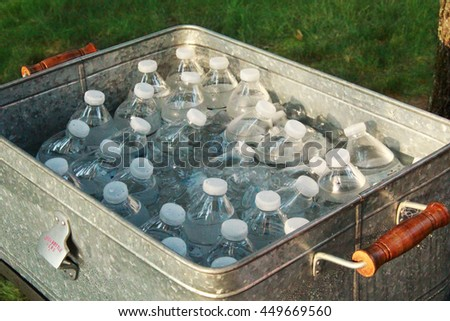 Water in bottles - stock photo