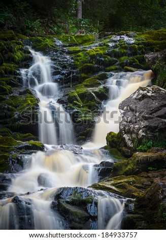 water in cascades running over mossy stones
