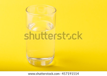 water in glass with yellow background