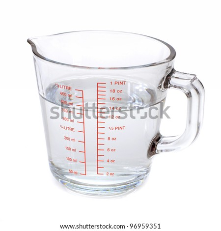water measuring cup on white background stock photo royalty free 96959351 shutterstock. Black Bedroom Furniture Sets. Home Design Ideas
