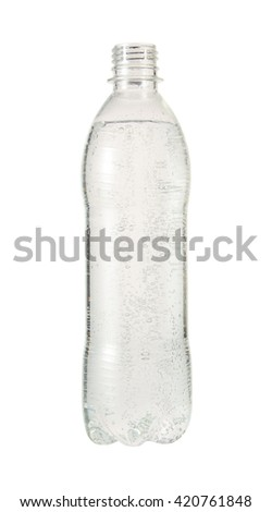 Water in open bottle isolated on white background - stock photo