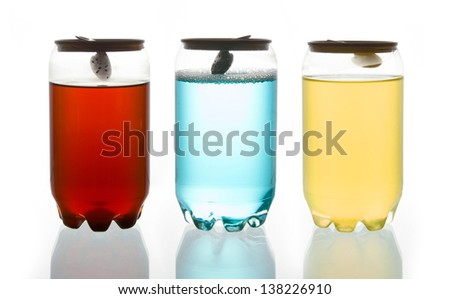 Water in Three Plastic Can - stock photo