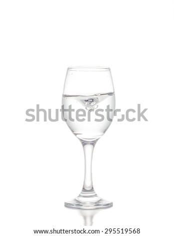 water in wine glass on white background