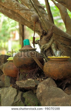 Water jars of the ancient Thai temple in Thailand.
