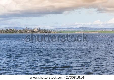 Water Landscape of Larnaca Salt Lake - Cyprus Island - stock photo