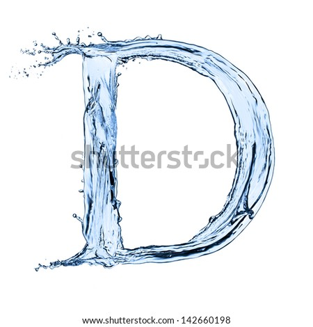 """Water letter """"D"""" isolated on white background - stock photo"""