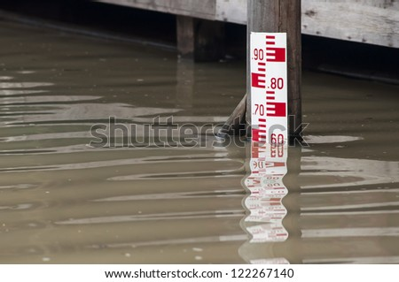 Water level meter at high level - stock photo