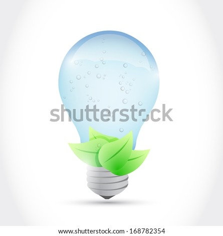 water light bulb and leaves illustration design over a white background - stock photo