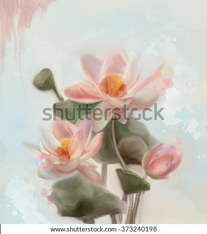 Water lilies - Watercolor painting  - stock photo