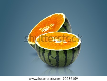 Water melon and Orange inside, ideal for mix juice. - stock photo