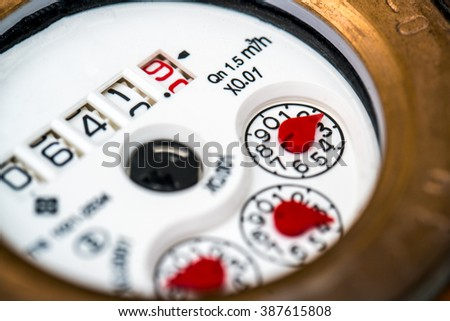 water meter close-up isolated