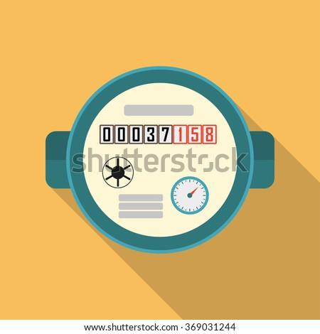 Water meter. Illustration of watermeter in flat design. - stock photo
