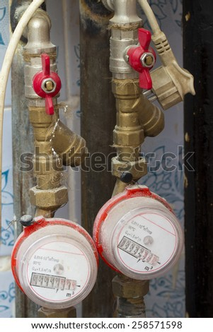 water meter on the white background - stock photo