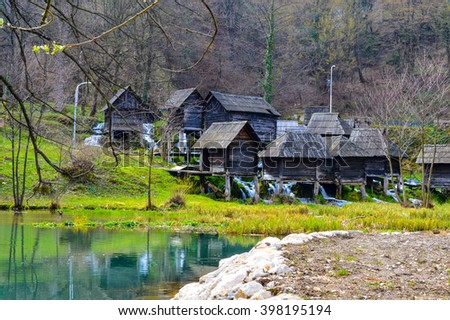 Water mill in place Jajce, Bosnia and Herzegovina. Most popular open public museum of water mill in Europe