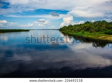 Water mirror in the amazon river, Iquitos, Peru - stock photo