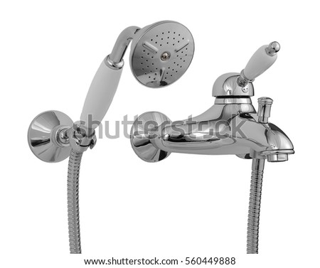 water mixer for bathroom isolated on white background