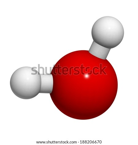 Water molecule, chemical structure. Atoms are represented as spheres with conventional color coding: hydrogen (white), oxygen (red). - stock photo