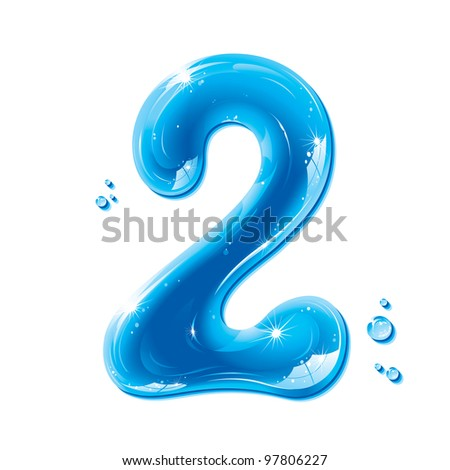 Water Numbers - Number Two Liquid Number Gel Series on white background - raster version