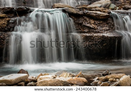 Water of a mountain stream flowing. Photograph taken with long exposure