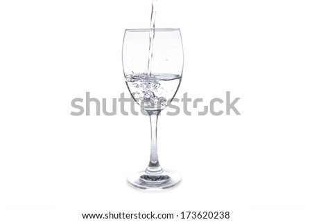 Water on a glass on white background - stock photo