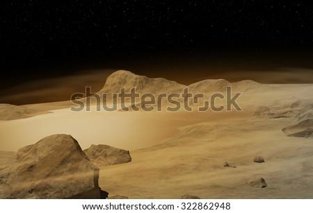 Water on Mars - stock photo