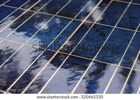 Water on Solar cell ,solar power photovoltaic panel as green and renewable electric energy - stock photo
