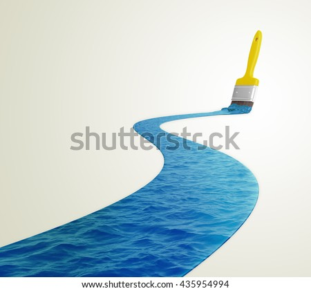 Water painted with a paintbrush - 3D illustration