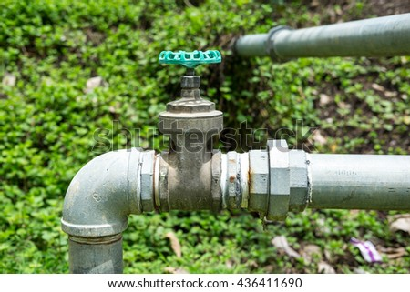 Water pipe on ground