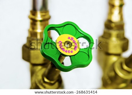 Water pipe valve close up. Creative climate change and environment concept.  - stock photo