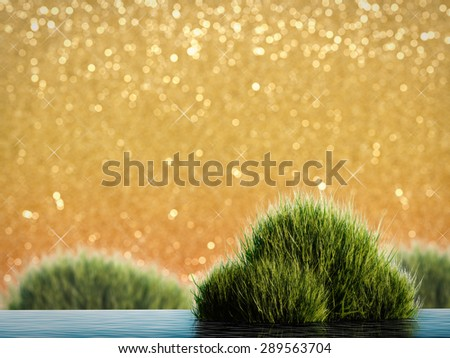 water plant on golden glitter sky - stock photo