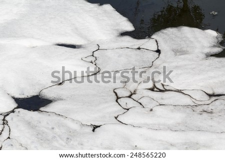 Water pollution in canal because industrial not treat water before drain. - stock photo