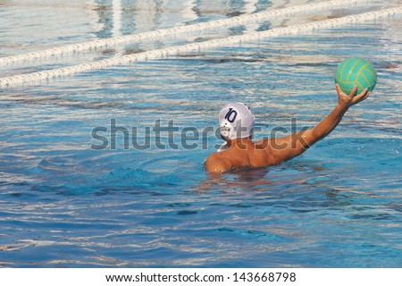 water polo player in action - stock photo