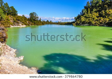 Water pond in the wonderland of the Wai-o-tapu geothermal area, near Rotorua, New Zealand