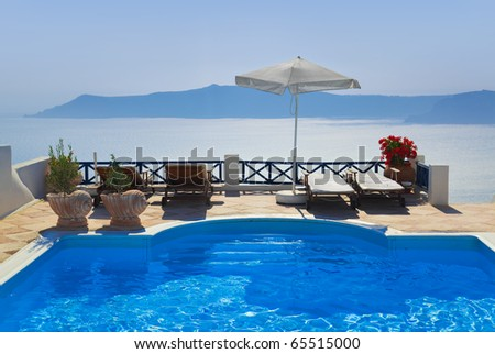 Water pool at Santorini, Greece - vacation background - stock photo
